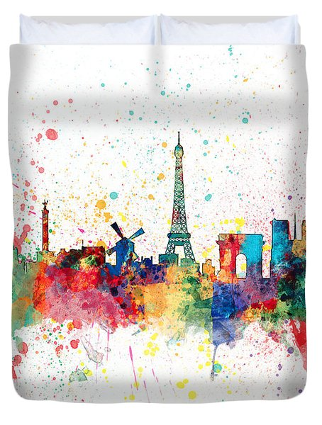 Paris France Skyline Duvet Cover by Michael Tompsett