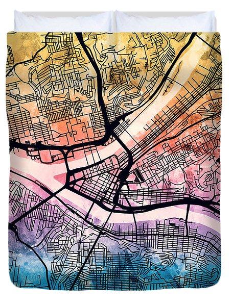 Pittsburgh Pennsylvania Street Map Duvet Cover