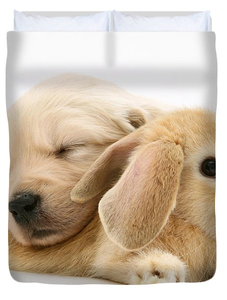 Rabbit And Puppy Duvet Cover by Jane Burton