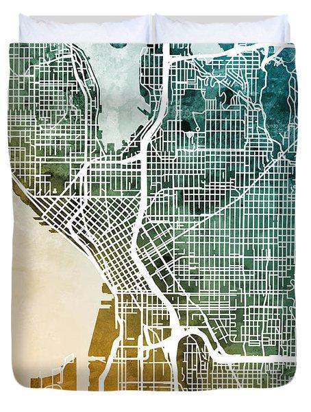 Seattle Washington Street Map Duvet Cover