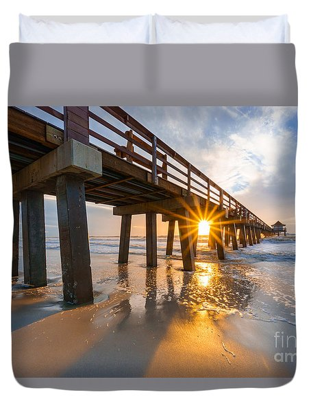 Sunset Naples Pier, Florida Duvet Cover