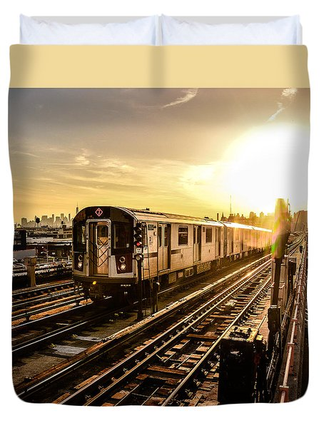 7 Train Sunset Duvet Cover