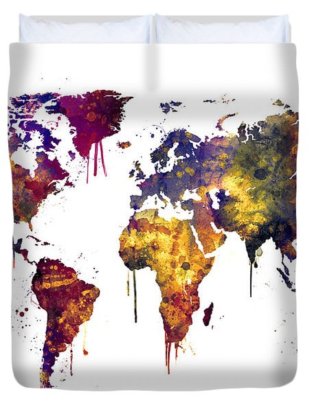 Watercolor Map Of The World Map Duvet Cover