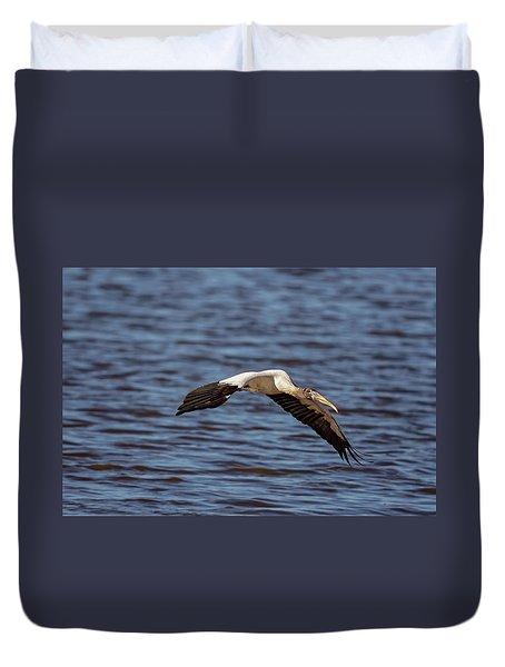 Duvet Cover featuring the photograph Wood Stork by Peter Lakomy