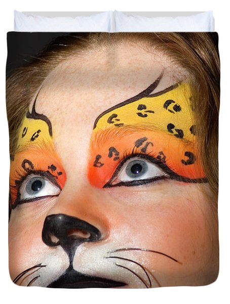 Young Female Model With Make Up Mask Duvet Cover