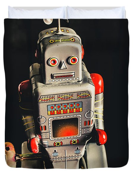 70s Mechanical Android Bot  Duvet Cover