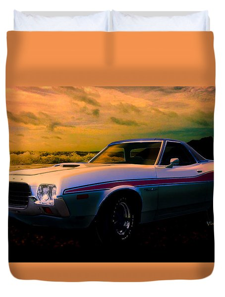 72 Ford Ranchero By The Sea Duvet Cover