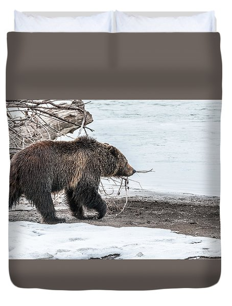 Duvet Cover featuring the photograph #760 At The River In Early Spring by Yeates Photography