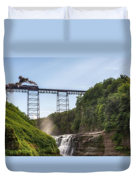 Duvet Cover featuring the photograph 765 Over Upper Falls by Mark Papke