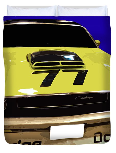 77 Yellow Dodge Duvet Cover