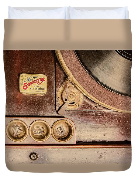 Duvet Cover featuring the photograph 78 Rpm And Accessories by Gary Slawsky