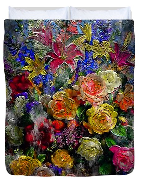 7a Abstract Floral Painting Digital Expressionism Duvet Cover
