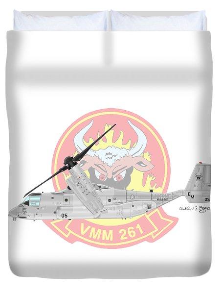 Bell Boeing Mv-22b Osprey Duvet Cover by Arthur Eggers