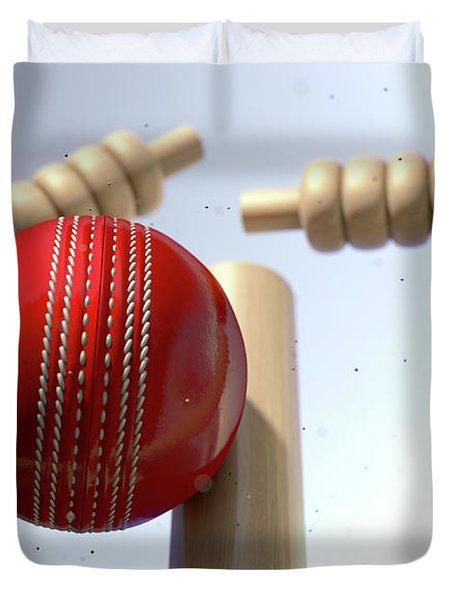 Cricket Ball Hitting Wickets Duvet Cover