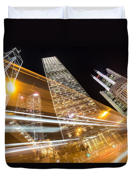Hong Kong Night Rush Duvet Cover