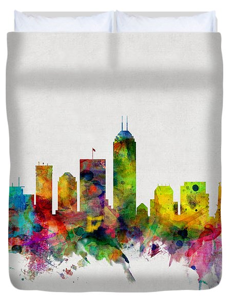 Indianapolis Indiana Skyline Duvet Cover