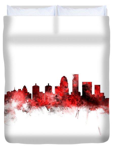 Louisville Kentucky City Skyline Duvet Cover
