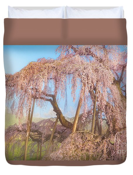 Duvet Cover featuring the photograph Miharu Takizakura Weeping Cherry08 by Tatsuya Atarashi