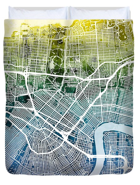 New Orleans Street Map Duvet Cover