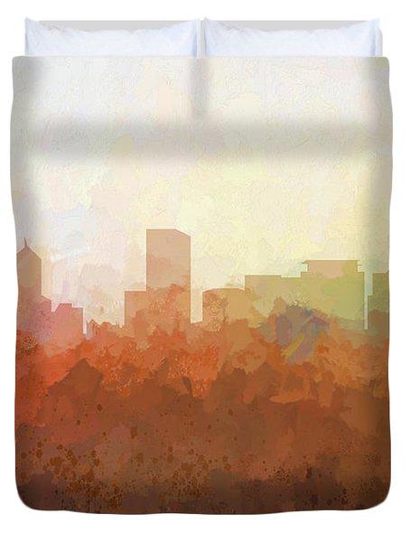 Duvet Cover featuring the digital art Portland Oregon Skyline by Marlene Watson