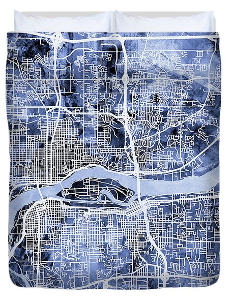Quad Cities Street Map Duvet Cover