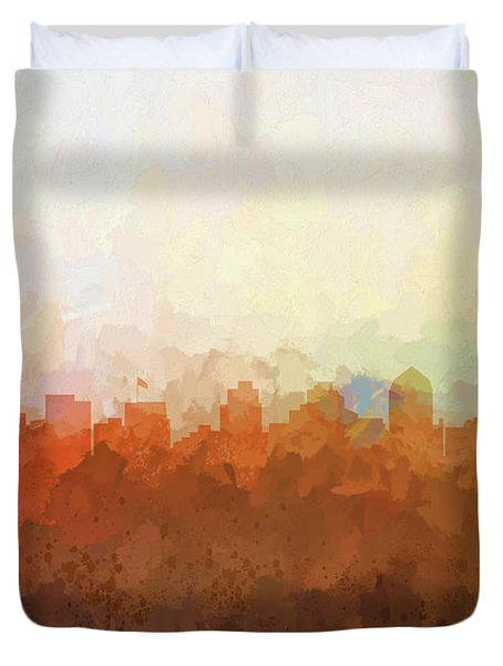 Duvet Cover featuring the digital art San Diego California Skyline by Marlene Watson