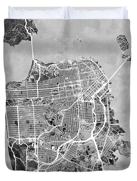 San Francisco City Street Map Duvet Cover