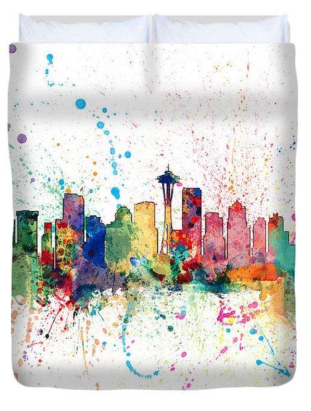 Seattle Washington Skyline Duvet Cover
