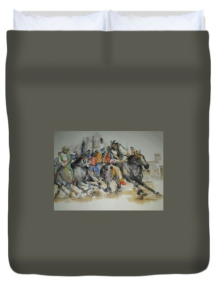 Duvet Cover featuring the painting Siena And Their Palio Album by Debbi Saccomanno Chan