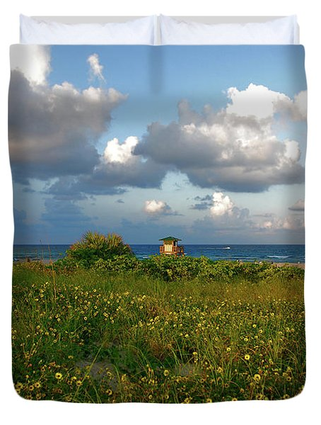 Duvet Cover featuring the photograph 8- Sunflowers In Paradise by Joseph Keane