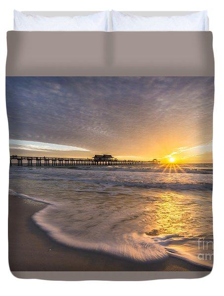 Sunset Naples Pier Florida Duvet Cover