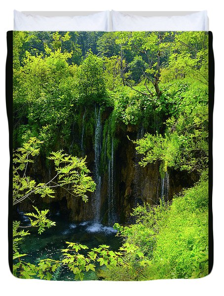 Waterfall In Plitvice National Park In Croatia Duvet Cover