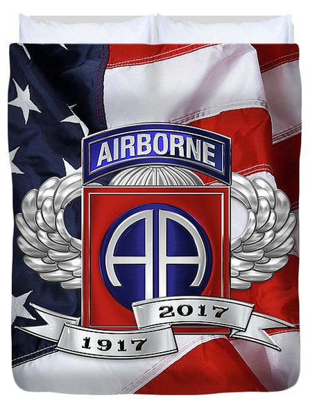 82nd Airborne Division 100th Anniversary Insignia Over American Flag  Duvet Cover