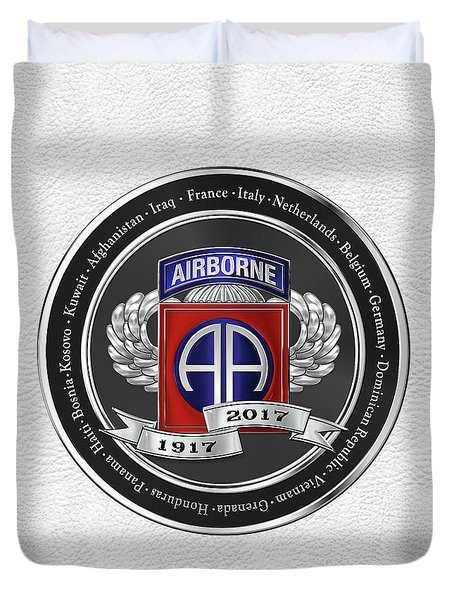 82nd Airborne Division 100th Anniversary Medallion Over White Leather Duvet Cover by Serge Averbukh