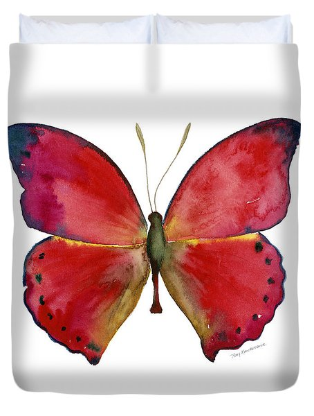 83 Red Glider Butterfly Duvet Cover
