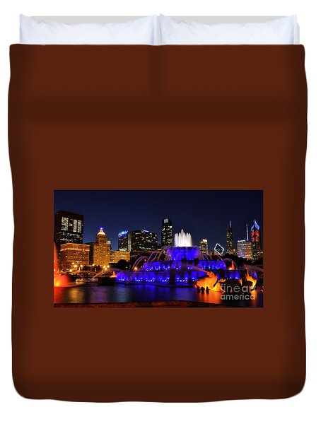 911 Tribute At Buckingham Fountain, Chicago Duvet Cover by Zawhaus Photography