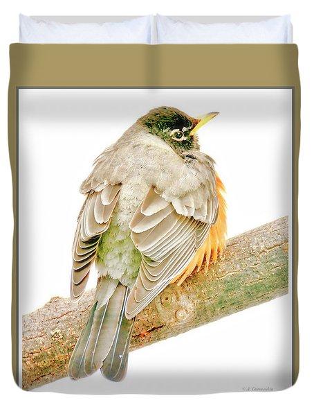 American Robin Male, Animal Portrait Duvet Cover