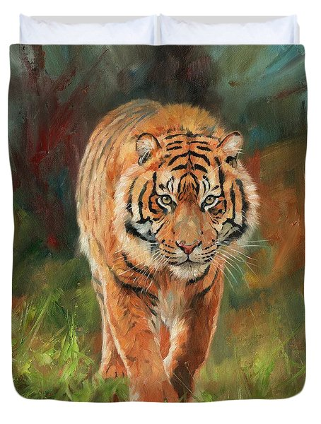 Amur Tiger Duvet Cover by David Stribbling