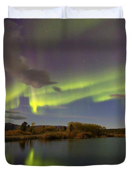 Aurora Borealis With Moonlight At Fish Duvet Cover by Joseph Bradley