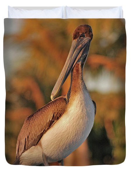 Duvet Cover featuring the photograph 9- Brown Pelican by Joseph Keane