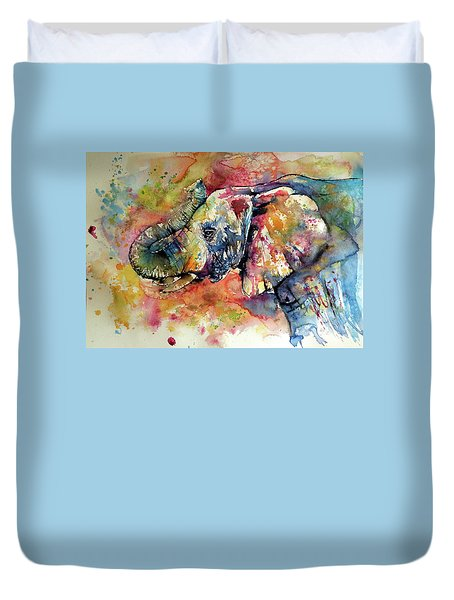 Colorful Elephant Duvet Cover by Kovacs Anna Brigitta