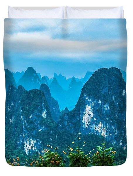 Karst Mountains Landscape Duvet Cover