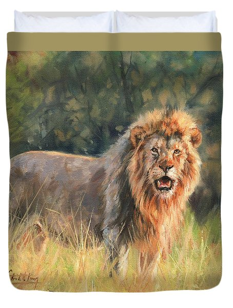 Duvet Cover featuring the painting Lion by David Stribbling