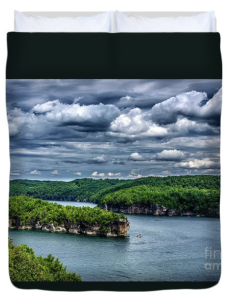 Long Point Summersville Lake Duvet Cover by Thomas R Fletcher