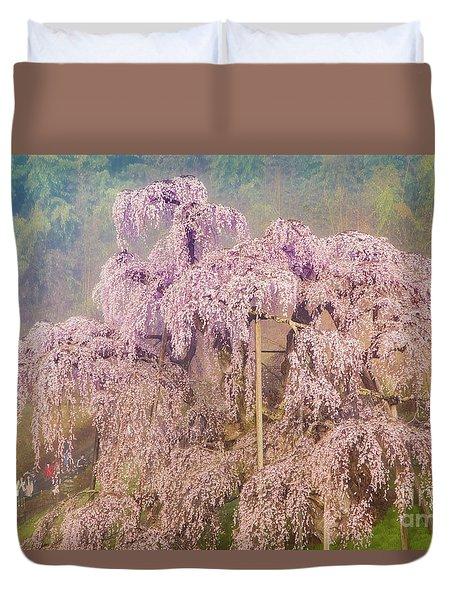Duvet Cover featuring the photograph Miharu Takizakura Weeping Cherry09 by Tatsuya Atarashi