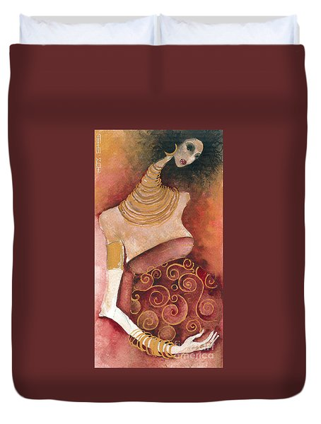Duvet Cover featuring the painting 9 Months by Maya Manolova