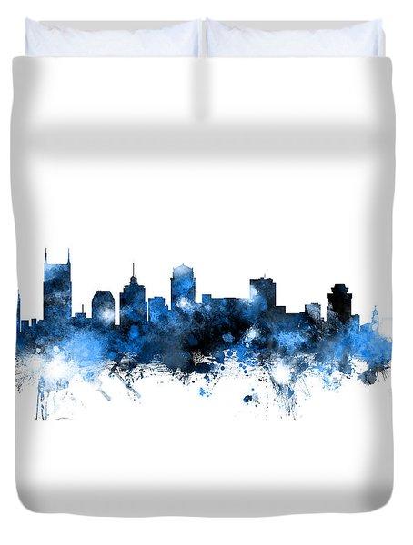 Nashville Tennessee Skyline Duvet Cover by Michael Tompsett