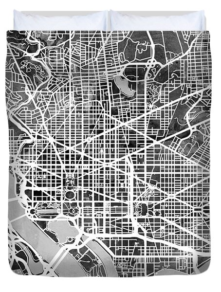 Washington Dc Street Map Duvet Cover