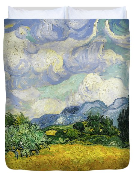 Duvet Cover featuring the painting Wheat Field With Cypresses by Vincent van Gogh
