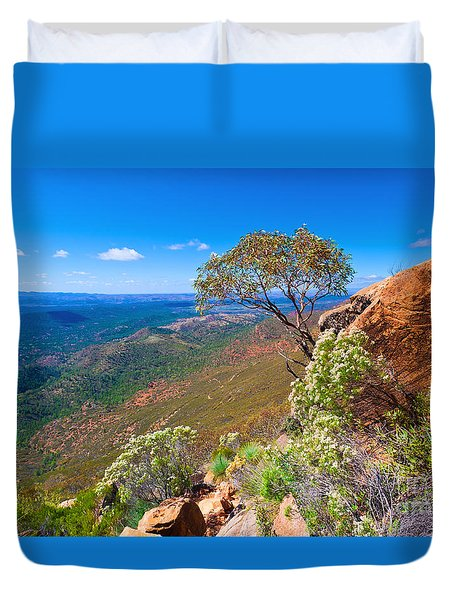 Duvet Cover featuring the photograph Wilpena Pound  by Bill  Robinson